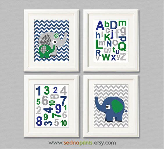 Navy green and grey nursery Art Print Set - 8x10 - Baby boy wall art,  Kelly green, irish, elephant, chevron, alphabet, numbers - UNFRAMED by SednaPrints on Etsy https://www.etsy.com/listing/177172463/navy-green-and-grey-nursery-art-print