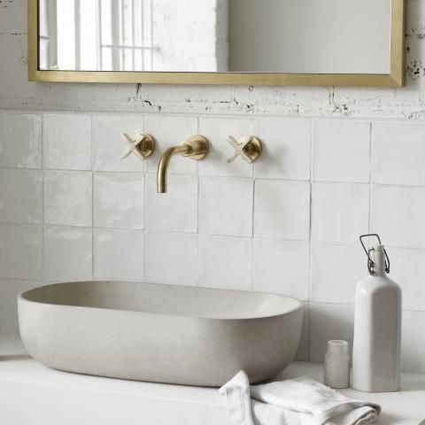Wall Mounted Basin Taps and Spout with Cross | Bert & May