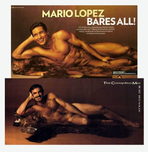 Charming Mario Lopez Recently Struck A Famous Burt Reynolds Pose On A Bear Skin Rug  For People Magazine With The Sensational Headline That Reads: Mario Bareu2026