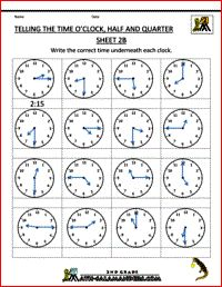 Telling the Time - O\'clock, Half and Quarter Sheet 2B | 2nd Grade ...