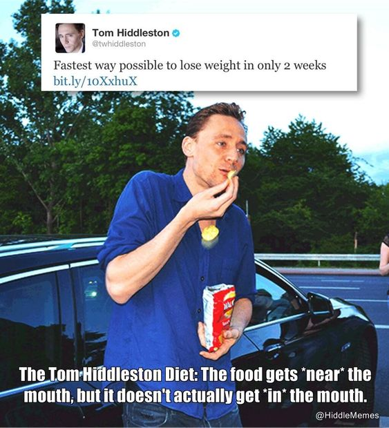 The Tom Hiddleston Diet: the food gets *near* the mouth, but it doesn't actually get *in* the mouth