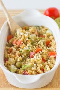 This Mediterranean Quinoa Salad is an easy and quick quinoa salad loaded with cucumbers, olives, feta cheese and delicious juicy tomatoes! It's all ready in under 30 minutes.