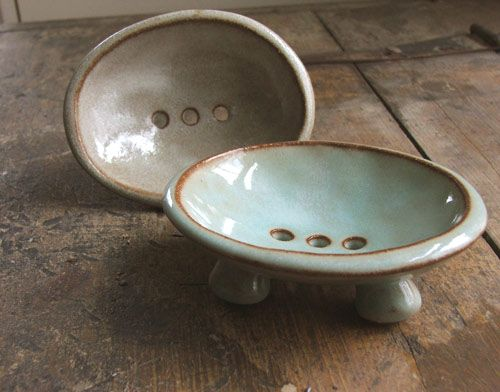 Tiffany Soap Dish - Ceramic with holes in the bottom - should be relatively easy to make something similar in polymer?