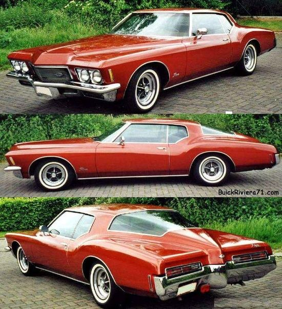 1971 Buick Riviera.  This looks almost exactly like the one I had, except my GS had a black vinyl roof. Base engine was 455c.i.d (7.4 liter V-8), GS model added higher output and positraction.