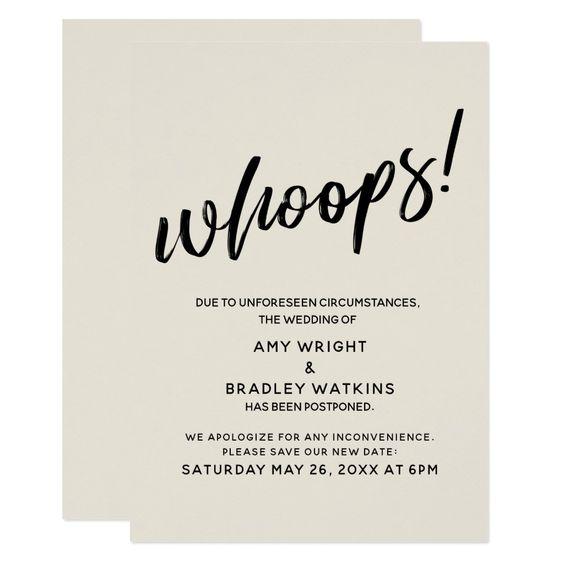 """Postponed Wedding Humorous """"Whoops!"""" Cream Card"""