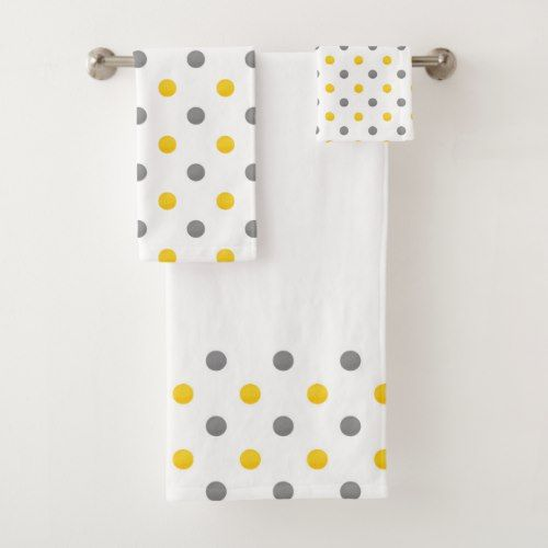 Yellow And Gray Watercolor Polka Dots Bath Towel Set Zazzle Com Towel Set Bath Towel Sets Decorative Bath Towels