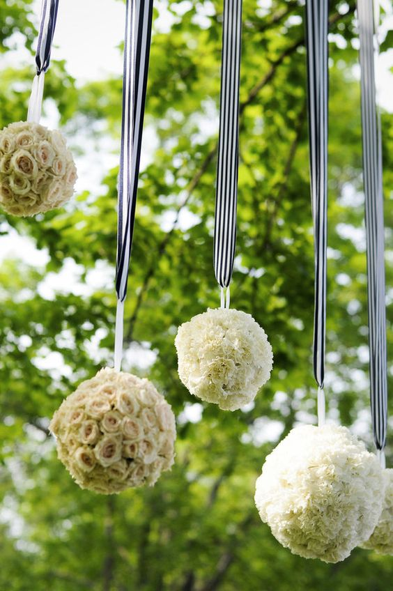 Kissing balls - Pomanders - with a touch of nautical navy & white striped ribbons. Photography by themccartneysblog.com, Floral Design by reshdesignflowers.com