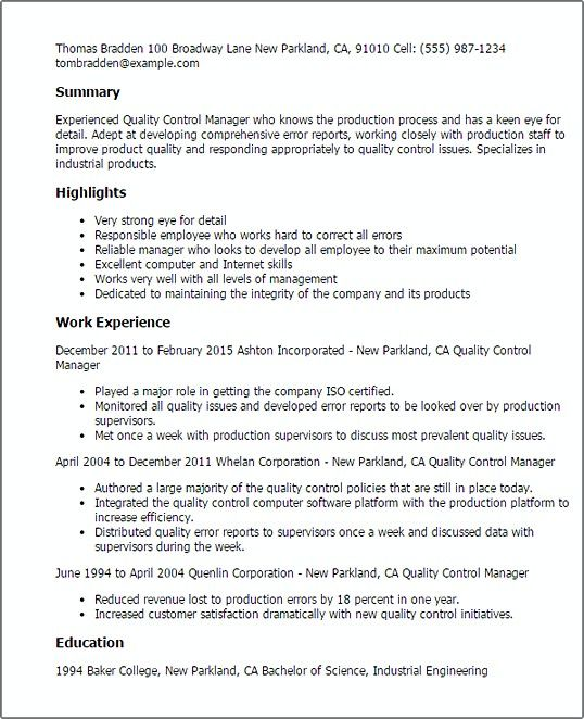 Professional Quality Control Manager Resume Quality Control Manager Resume Do You Want To Know How To Make Valuable Q Manager Resume Resume Examples Resume