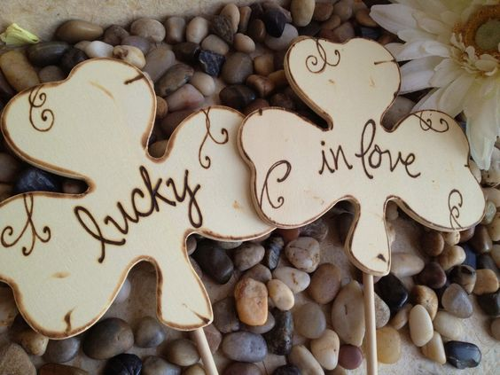 Wedding Cake Toppers Photo Prop Shamrock Clovers Lucky in Love Wood Signs with Carved Initials and Scrolls Rustic Shabby Chic. $19.99, via Etsy.
