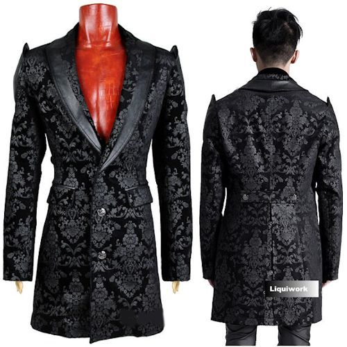 Designer Black Single Breasted Gothic Vampire Jackets Trench Coats