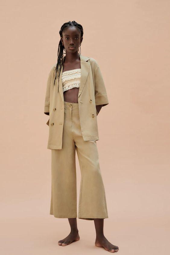 Double-breasted linen blend blazer Zara