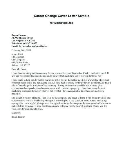 Cover Letter Template Job Change Cover Letter Template Cover Letter