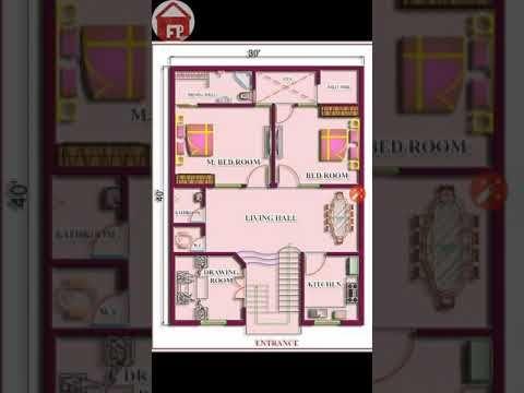 30x40 Houseplan 2bhk South Facing As Per Vastu Youtube In 2020 30x40 House Plans House Plans Village House Design