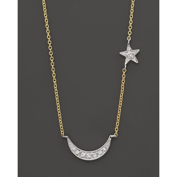 Meira T Diamond Moon And Star necklace set In 14K yellow gold