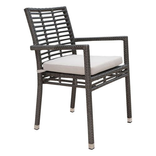 Panama Jack Intech Grey Outdoor Stackable Arm Chair With Sunbrella