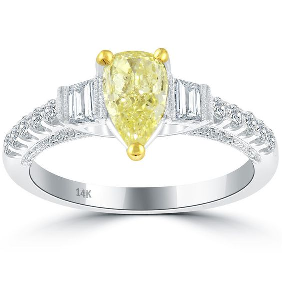 1.53 Carat Fancy Yellow Pear Shape Diamond Engagement Ring 14k Vintage Style