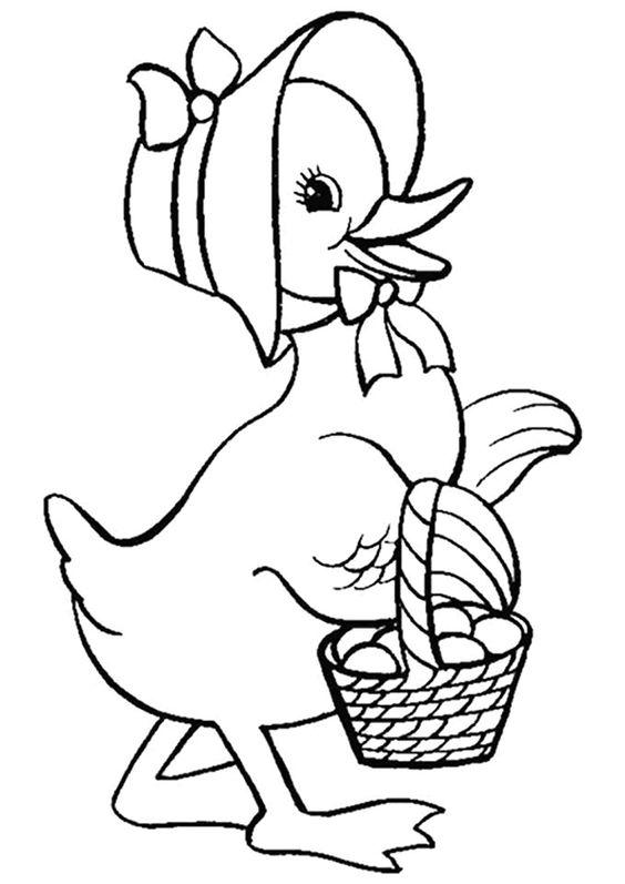 Dessin d'une maman canard avec son chapeau et son panier ...