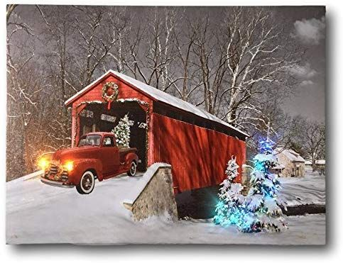 Amazon Com Banberry Designs Red Truck Canvas Print Christmas Canvas Print With Led And Fiber Optic Lights W Christmas Canvas Christmas Red Truck Red Truck