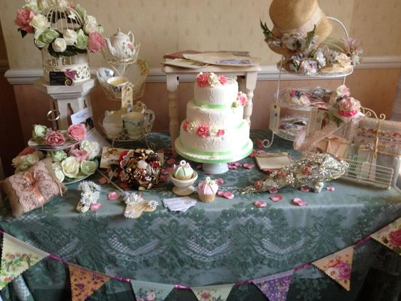 Mood-board table for Lovely and Vintage Wedding Fayres.