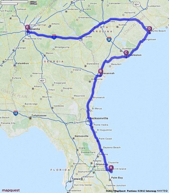 Driving Directions From Cocoa Beach Florida To Atlanta Georgia - Mapquest georgia