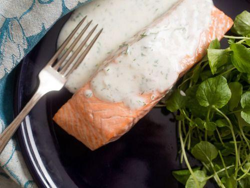 Poached Salmon With Dill-Yogurt SauceReally nice recipes. Every  Mein Blog: Alles rund um die Themen Genuss & Geschmack  Kochen Backen Braten Vorspeisen Hauptgerichte und Desserts # Hashtag