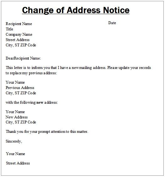 Change Of Address Notice Template Change Of Address Templates