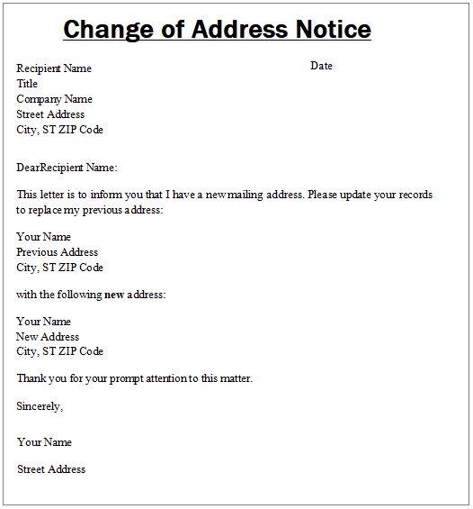 Change Of Address Notice Template Change Of Address Addressing Words