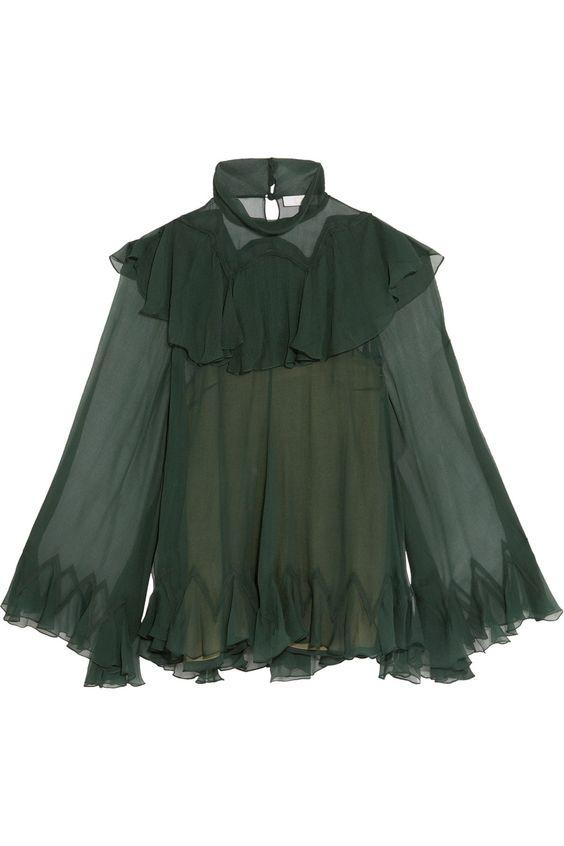 Chloe forest green ruffled silk high-neck blouse