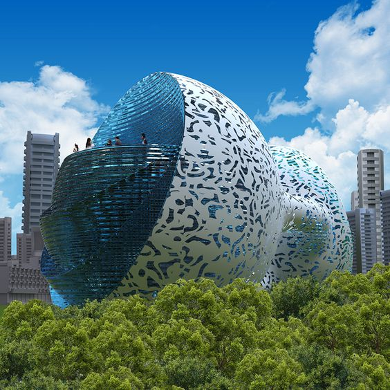 made of steel and concrete, the structure has an external shell with a fractal pattern of an aluminium alloy or other light material with a polymer composition that can be 3D printed.