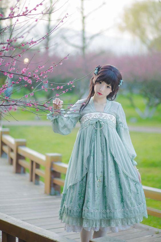 Pre-order: IchigoMikou [-❤۵-Drizzle & Thin Clouds-☁-] Hanfu Style Dress Qi Lolita Dress >>> http://www.my-lolita-dress.com/ichigomikou-drizzle-thin-clouds-hanfu-style-dress-qi-lolita-dress-sb-76 [✂Customizable✂]