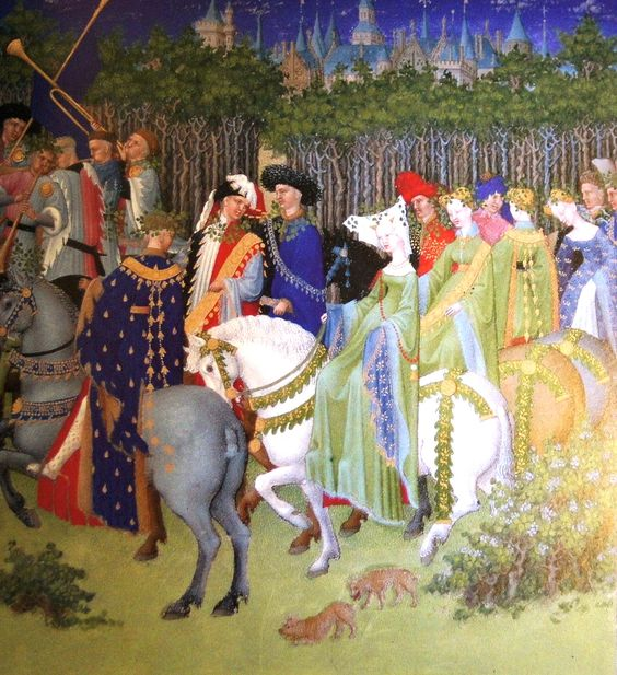"F. 76. Jean de Bourbon and Marie de Berry Ride out in May. Tres Riches Heures. Bourges, 1410-11. From ""Illuminating Fashion: Dress in the Art of Medieval France and he Netherlands, 1325-1515."""