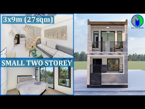 Two Storey House Design 3x9m 27sqm Youtube Small House Design Plans Narrow House Designs House Design