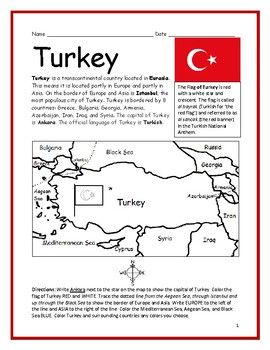 Turkey Printable Handouts With Map And Flag Map Activities Geography Worksheets Handouts
