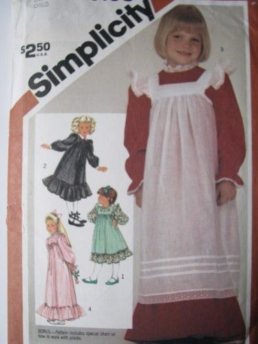 Vintage Sewing Pattern Old Fashioned Girls Dress and Pinafore sz 6 ...