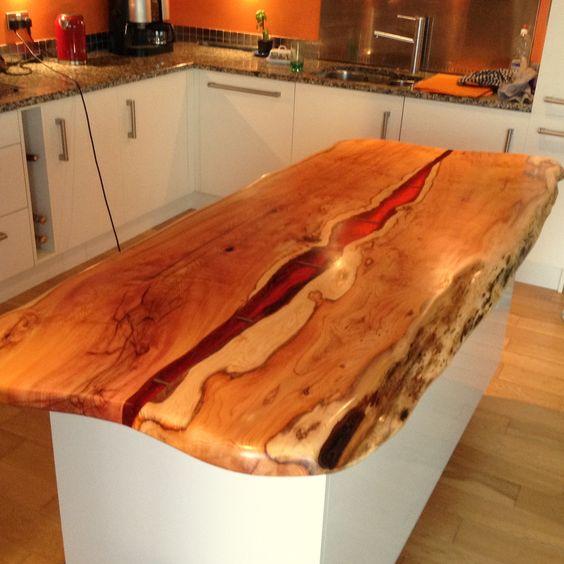 Kitchen island with live edge yew and dark amber resin by for Live edge kitchen island