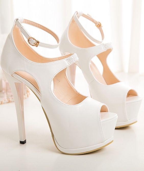 White peep toe high heels sandals