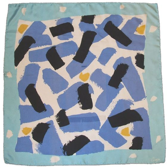 Abstract silk scarf by Donald Hamilton Fraser, 1980s.:
