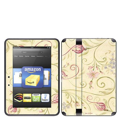 "I don't even HAVE a kindle fire and already I can't even chose my favorite decal skin - Decal Skin for Kindle Fire 2 HD 7"" by Decal Girl - Tulip Scroll"