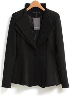 Celebrity Long Sleeves One-Button Pure Color Casual Blazer