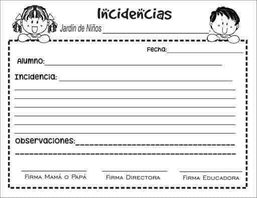 Formatos Variados Y Documentos Para El Curso 2019 2020 Reporte De Incidencias Bitacora Escolar Diario De La Educadora