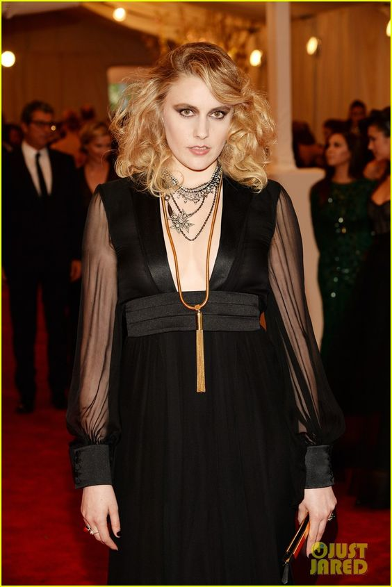 Greta Gerwig pairs her Saint Laurent dress with layers of vintage Fred Leighton jewels #metgala2013