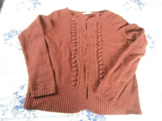 Ann Taylor LOFT Sweater ~ Hook & Eye Closures ~ Maroon ~ Medium…