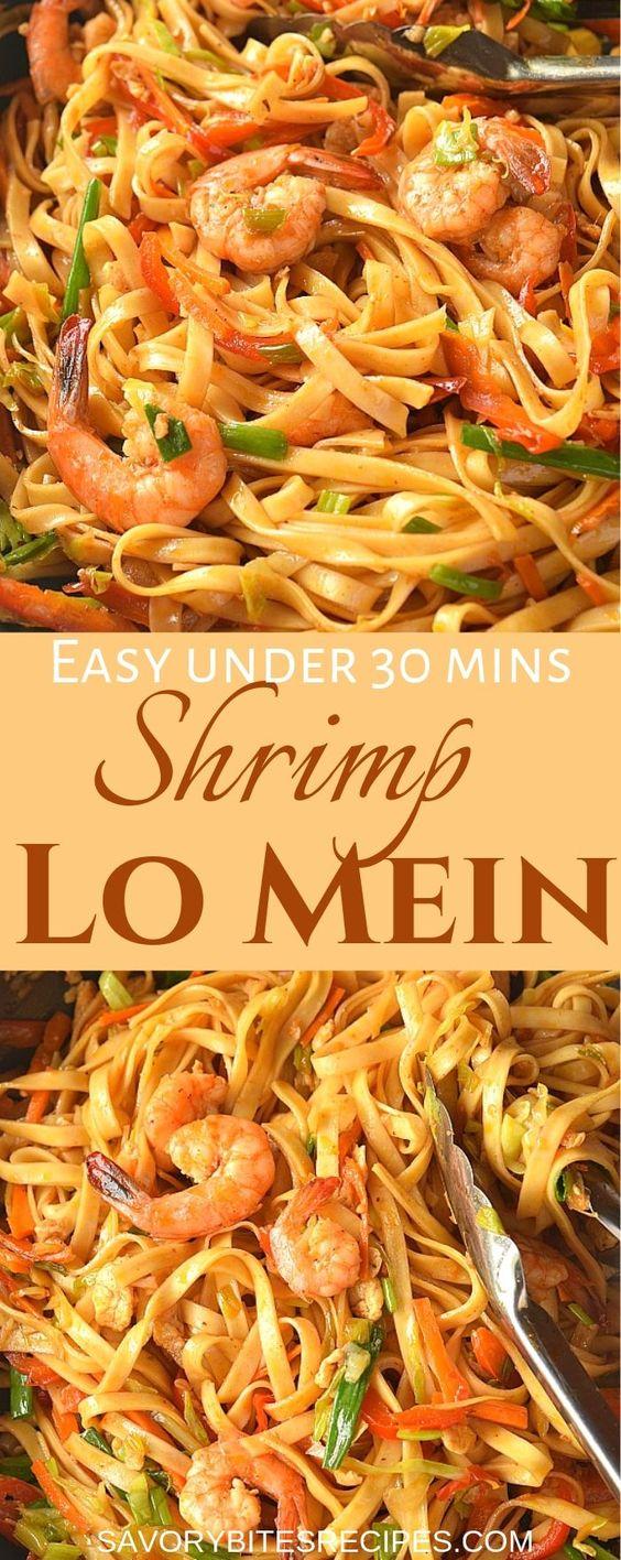 Under 30 mins Shrimp Lo Mein!