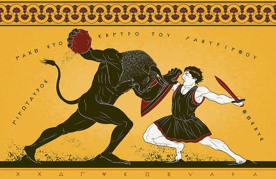 Theseus Print featuring the digital art Theseus And The Minotaur by Matthew Kocvara