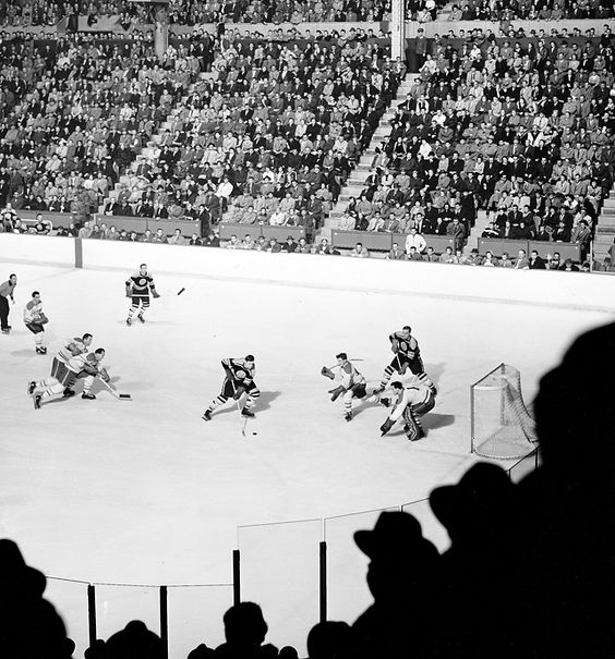 Montreal Canadiens vs. Boston Bruins, Montreal Forum, 1955