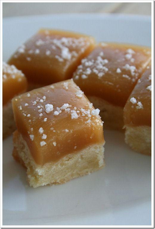 Caramel and sea salt topped shortbread bites.