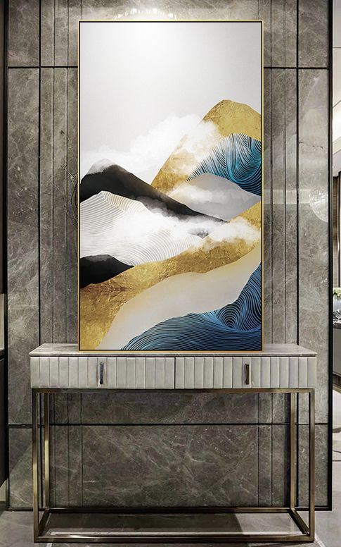 Nordic Golden Mountain Abstract Wall Art Hd Beautiful Wall Art