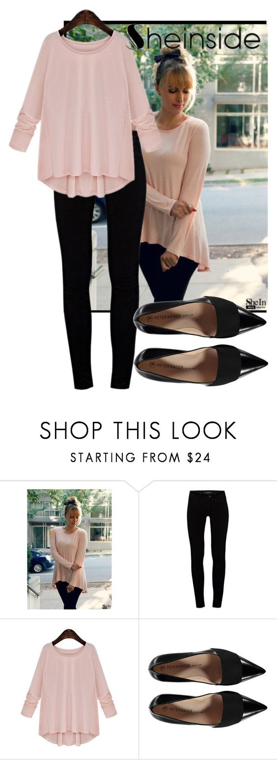 """""""Pink Round Neck Loose"""" by skyler-monroe ❤ liked on Polyvore featuring J Brand"""