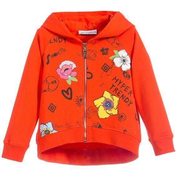 Simonetta Girls Orange Zip-Up Hooded Top at Childrensalon.com