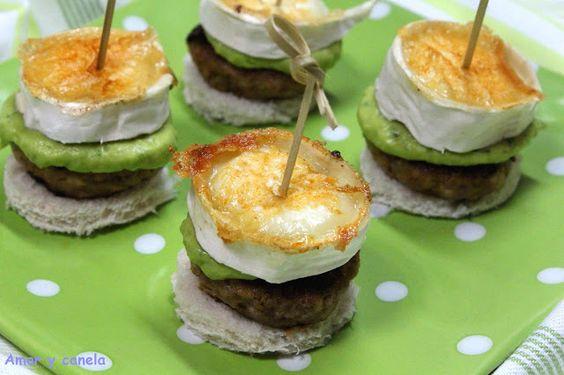 Pincho de mini hamburguesas con guacamole